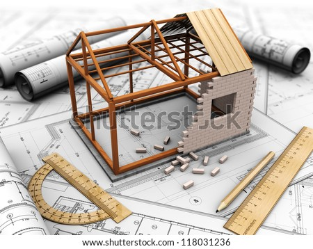 House Project Model Pencil Rules Stock Illustration 118031236 ...