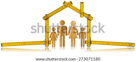 House Project - Wooden Meter with Family. Yellow wooden meter ruler in the shape of house isolated on white background with symbol of a family. House project concept.  - stock photo