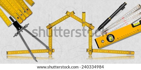 House Project - Yellow Wooden Meter. House project concept. Wooden meter ruler in the shape of house with a pencil, drawing compass, two meter tools and spirit level on a white paper - stock photo