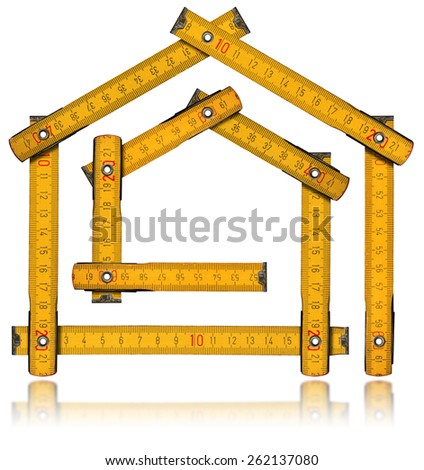 House Project - Yellow Wooden Meter. Yellow wooden meter ruler in the shape of house isolated on white background. House project concept. - stock photo