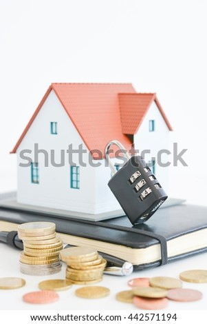 House property with door locker on white background