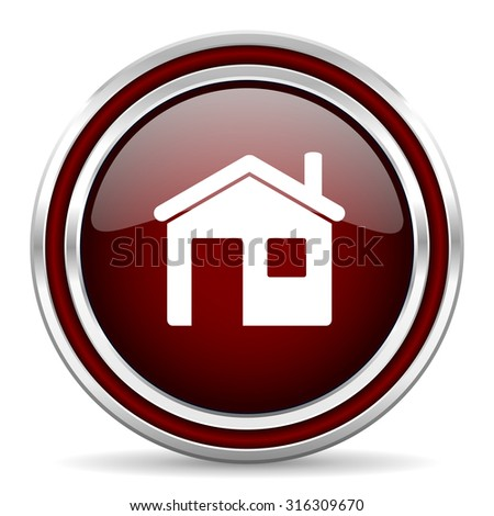 house red glossy web icon  - stock photo