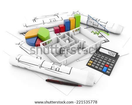 house rehabilitation costs concept: empty house with calculator and graphics over plots isolated on white background