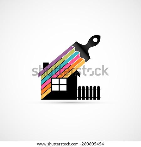 House renovation icon. - stock photo