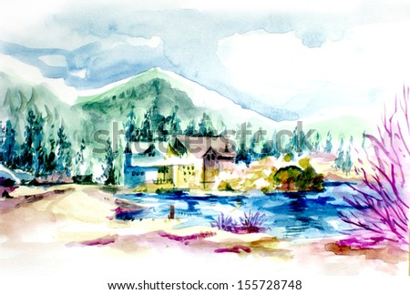 House resort by the lake in mountain illustration. Vacation house or holiday resort by the lake in the mountain water color illustration - stock photo