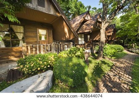 House resort in garden - stock photo