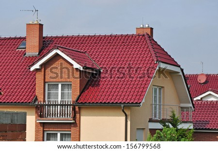 House roof, new roofing, residence - stock photo