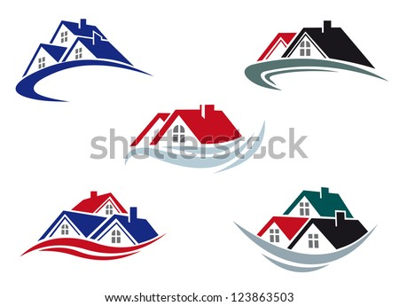 House roofs set for real estate business. Vector version also available in gallery