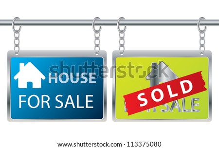 House sale advertisement hanging on chains - stock photo