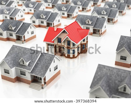 House search. Choice of the home of dream. Real estate concept. House searching. 3d - stock photo