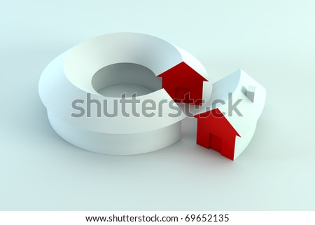 house segment in the conceptual diagram, 3d render - stock photo