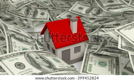 House set on Dollars banknotes pile, isolated on white background, 3d rendering - stock photo