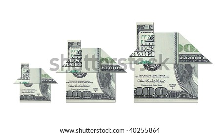House shape money origami art illustration