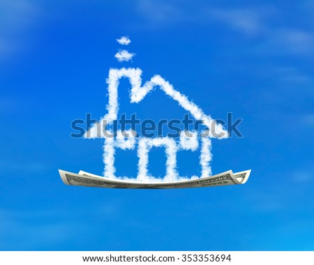 House shape white cloud on money flying carpet, with blue sky background. - stock photo