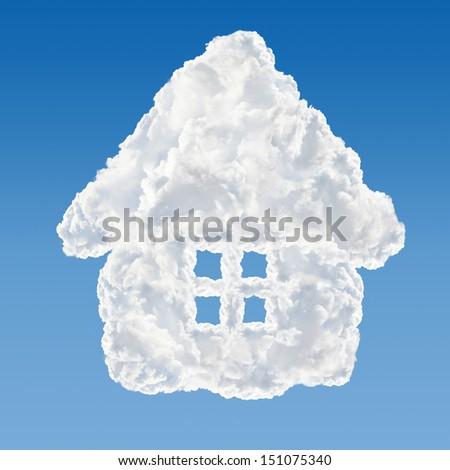 House shaped cloud - data base concept. - stock photo
