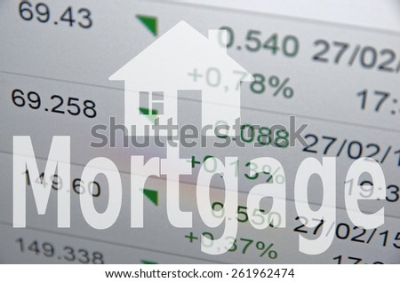 "House sign & inscription ""Mortgage"" - stock photo"
