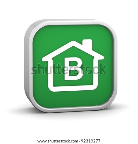 House Sign with B energy performance classification - stock photo