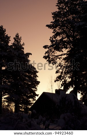 House Silhouette at Sun Rise - stock photo