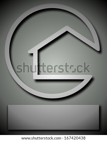 House silhouette in a circle with raised drop shadow effect - stock photo