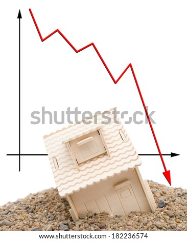 house sinking with a downward arrow on background, vertical, financial concept - stock photo