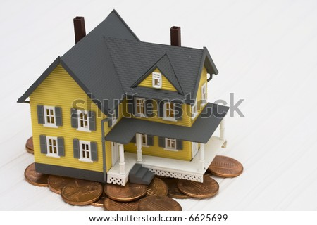 House sitting on pennies with white patterned background