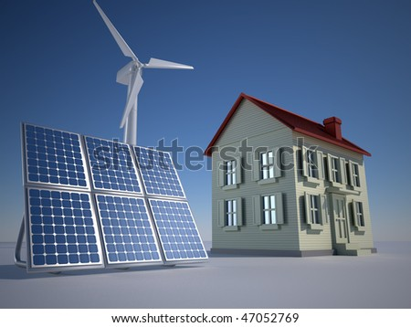 House solar panel and wind turbine - 3d render - stock photo