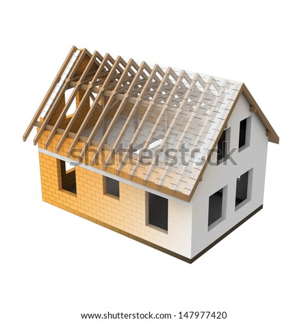 house structural two section blend transition illustration - stock photo