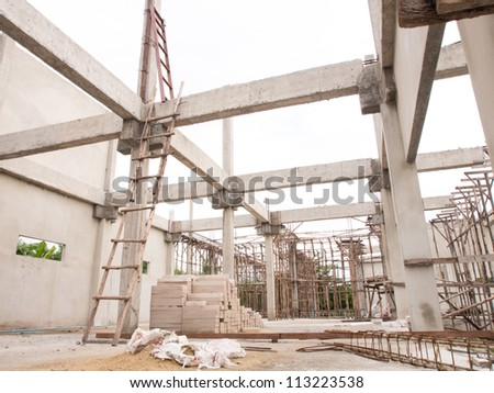 House structure under construction - stock photo