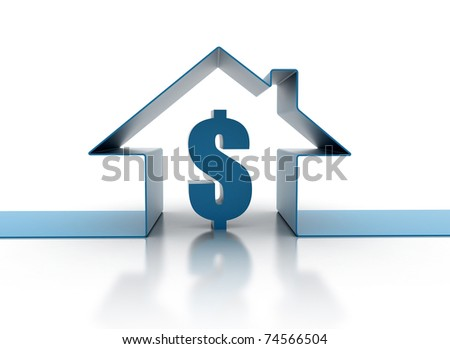 House symbol and dollar sign - stock photo