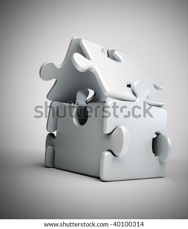 House symbol build out of jigsaw puzzle pieces - stock photo