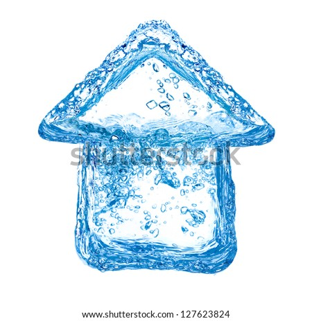 House symbol made of clean water splashes - stock photo