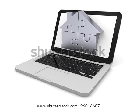 House symbol made of four silver puzzle pieces sticking out of laptop screen