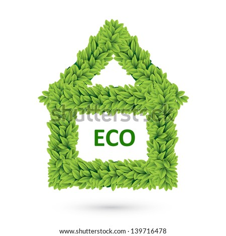 House symbol of green leaves. Ecology icon concept - stock photo