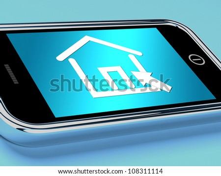 House Symbol On Mobile Screen Showing Real Estate Or Rentals - stock photo