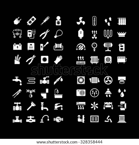 House system icons. Set icons of electricity, heating, plumbing, ventilation isolated on black - stock photo