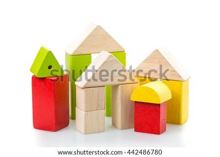 house toy blocks on white background. - stock photo