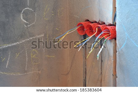 House under construction and repair at home. Electricity. Horizontal. - stock photo