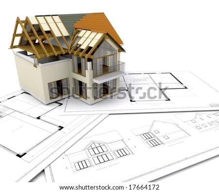 House Construction Plans Under Stock Photos  Royalty Free Images    House under construction on blueprints