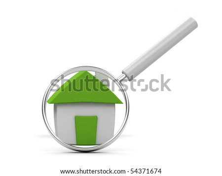 House under magnifying glass on white background. - stock photo