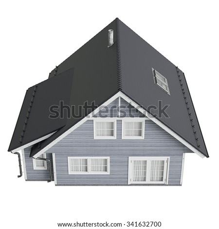 House villa with tile roof, top view. 3D graphic isolated object on white background - stock photo