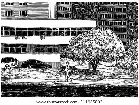 Line Art House : House wall city view urban scene stock illustration