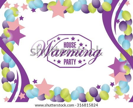 house warming party balloons card background sign illustration design graphic - stock photo