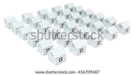 House white small models, isolated, 3d illustration, horizontal