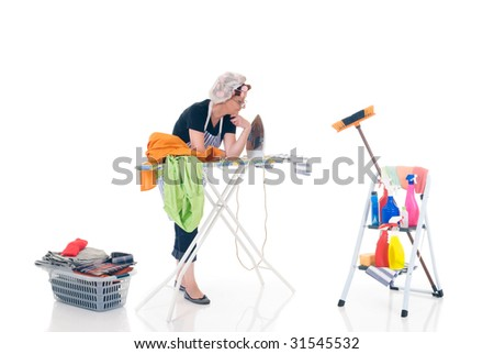 House wife,  basket with ironed goods, ladder with cleaning products, daily household.