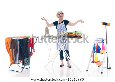 House wife, clothesline with washed clothing, ladder with cleaning products, daily household. - stock photo