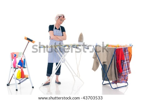House wife, clothesline with washed clothing, ladder with cleaning products, daily household.