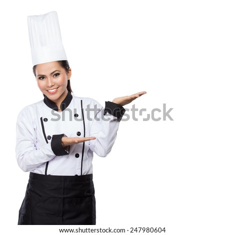 house wife or chef showing and presenting. Woman chef isolated on white background. - stock photo