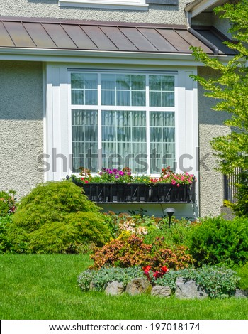House window and nicely trimmed and landscaped yard. Landscape design.