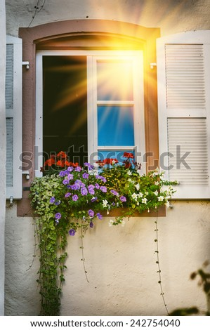 House window decorated with colorful geranium - stock photo