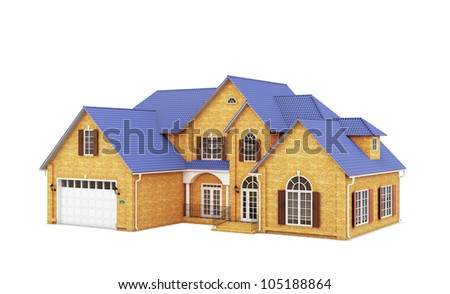 house with a blue roof on a white background
